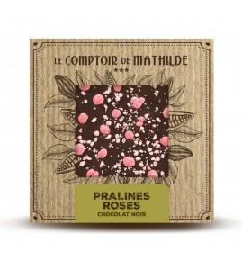 TABLETTE CHOCOLAT NOIR PRALINE ROSE DE LYON 80G