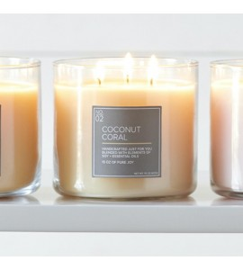 3 MECHES VILLAGE CANDLE COCONUT CORAL
