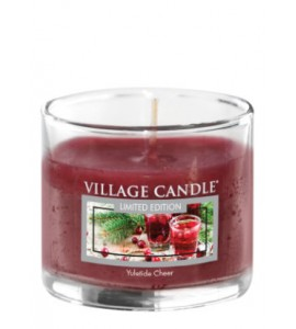 MINI GLASS VILLAGE CANDLE YULETIDE CHEER