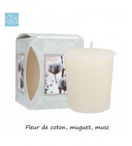 BOUGIE VOTIVE WHITE COTTON BRIDGEWATER