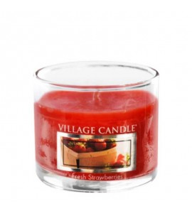 MINI GLASS VILLAGE CANDLE FRESH STRAWBERRIES