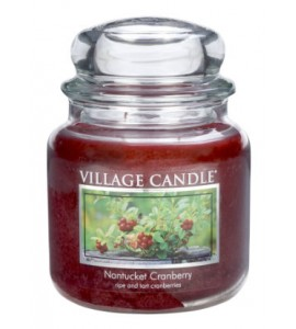MOYENNE JARRE VILLAGE CANDLE NANTUCKET CRANBERRY