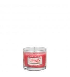 MINI GLASS VILLAGE CANDLE CHERRY VANILLA SWIRL