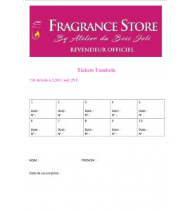 CARTE TICKETS TOMBOLA FRAGRANCE STORE
